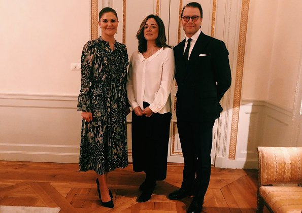 At the dinner, Crown Princess Victoria wore a floral print dress by Zadig and Voltaire