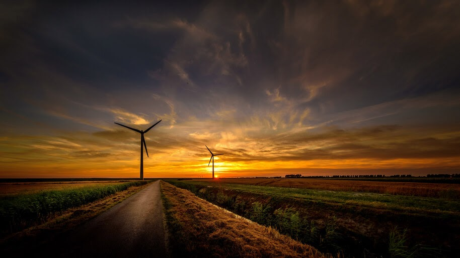 Sunrise, Wind Turbine, Road, 8K, #4.2340