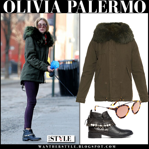 Olivia Palermo in green canvas fur trimmed mr mrs italy parka, purple pants with black ankle boots freda salvador bao what she wore winter style