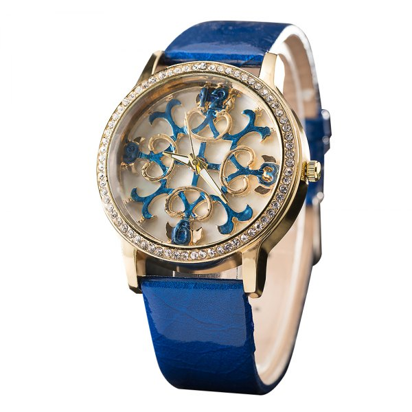 GREALY Women Fashion Belts Watches Hollowed Flowers Decorative Watches