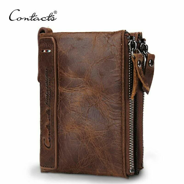 Genuine Contact's Crazy Horse Cowhide Leather Men Wallet