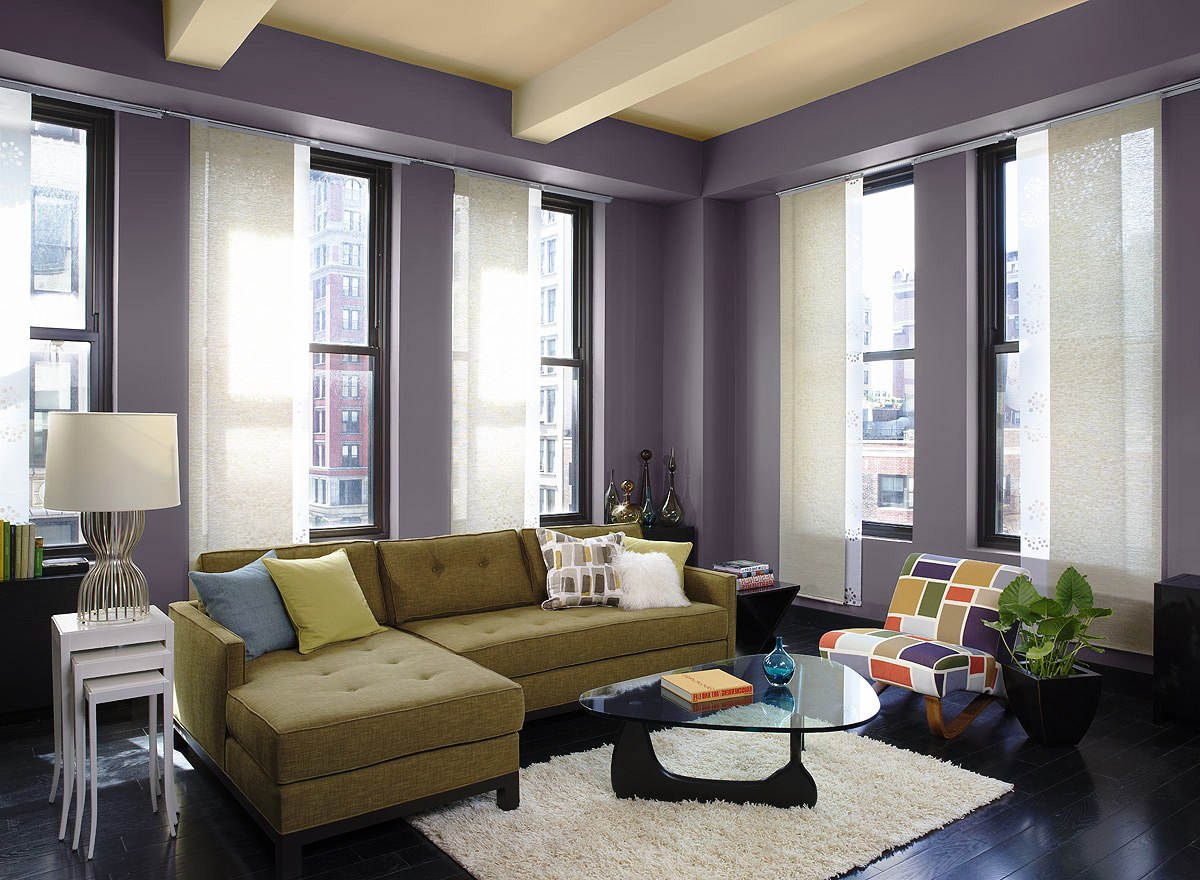 Warna Cat Ruang Tamu Modern Kombinasi Ungu dan Krem
