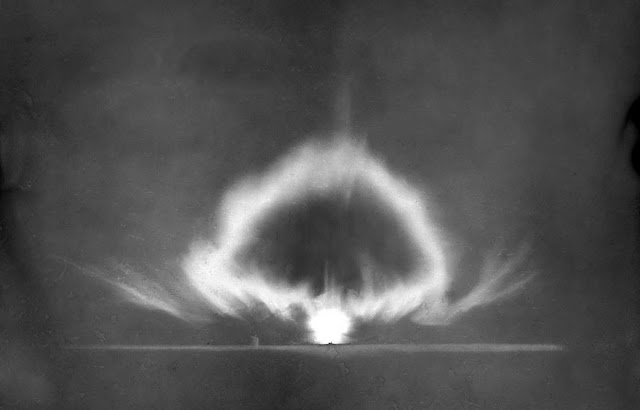 A longer-exposure photograph of the Trinity explosion seconds after detonation on July 16, 1945.