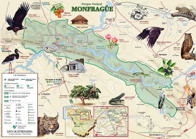 Resultado de imagen de parque nacional de monfrague mapa