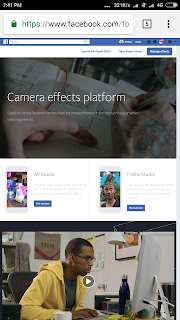 Desktop site view of fbcameraeffects in Android google chrome browser