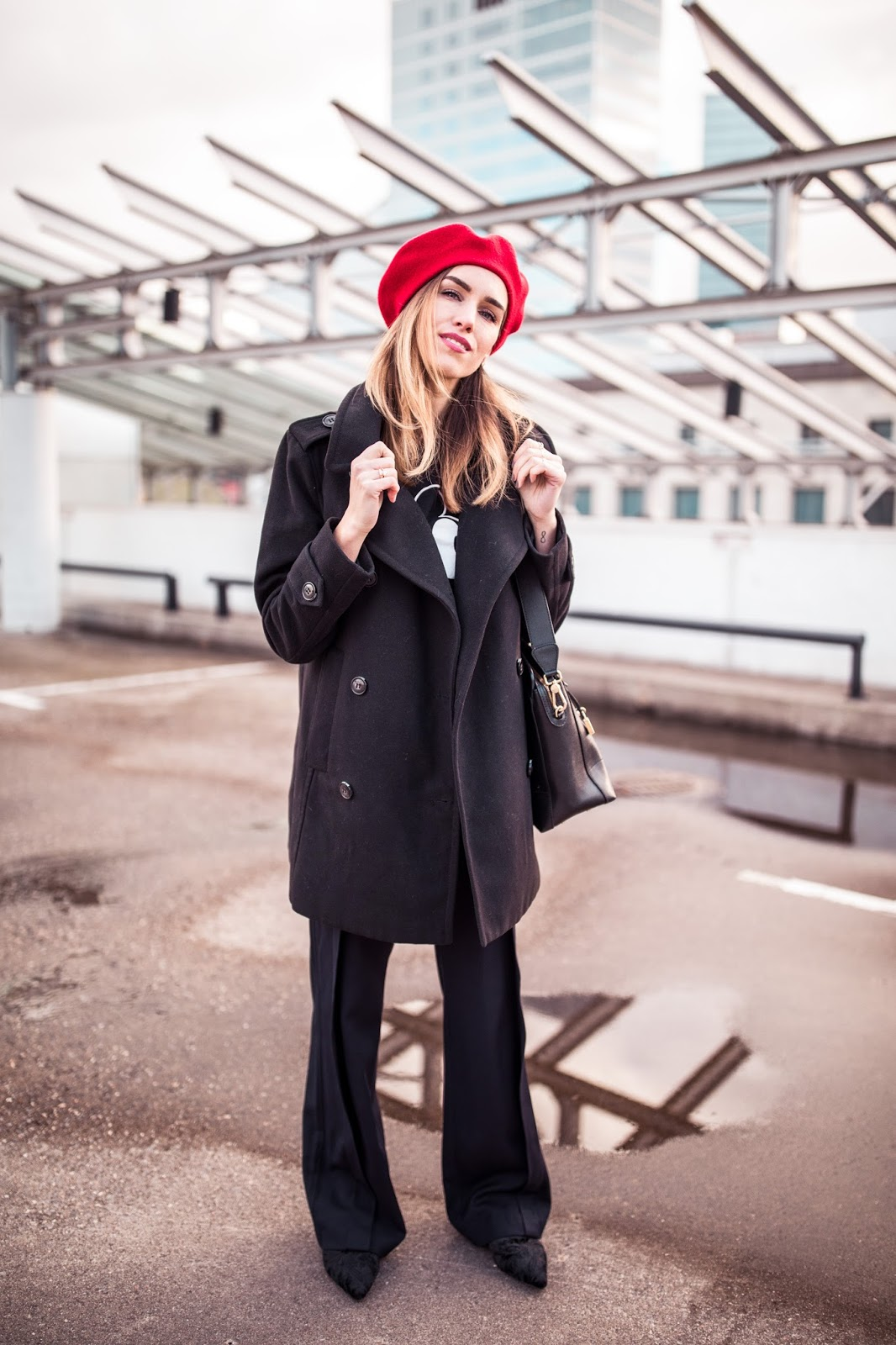 black peacoat beret outfit fall