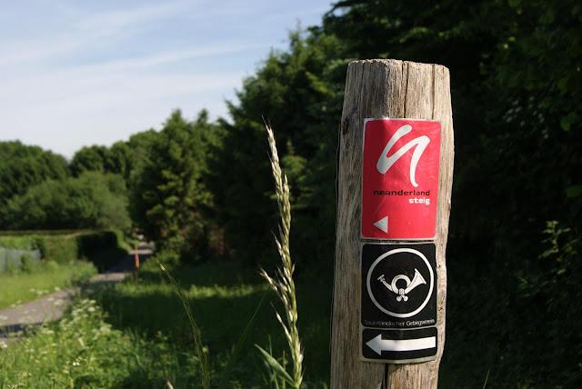 Wegzeichen des Neanderlandsteig an einem Holzpfahl