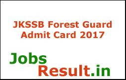 JKSSB Forest Guard Admit Card 2017