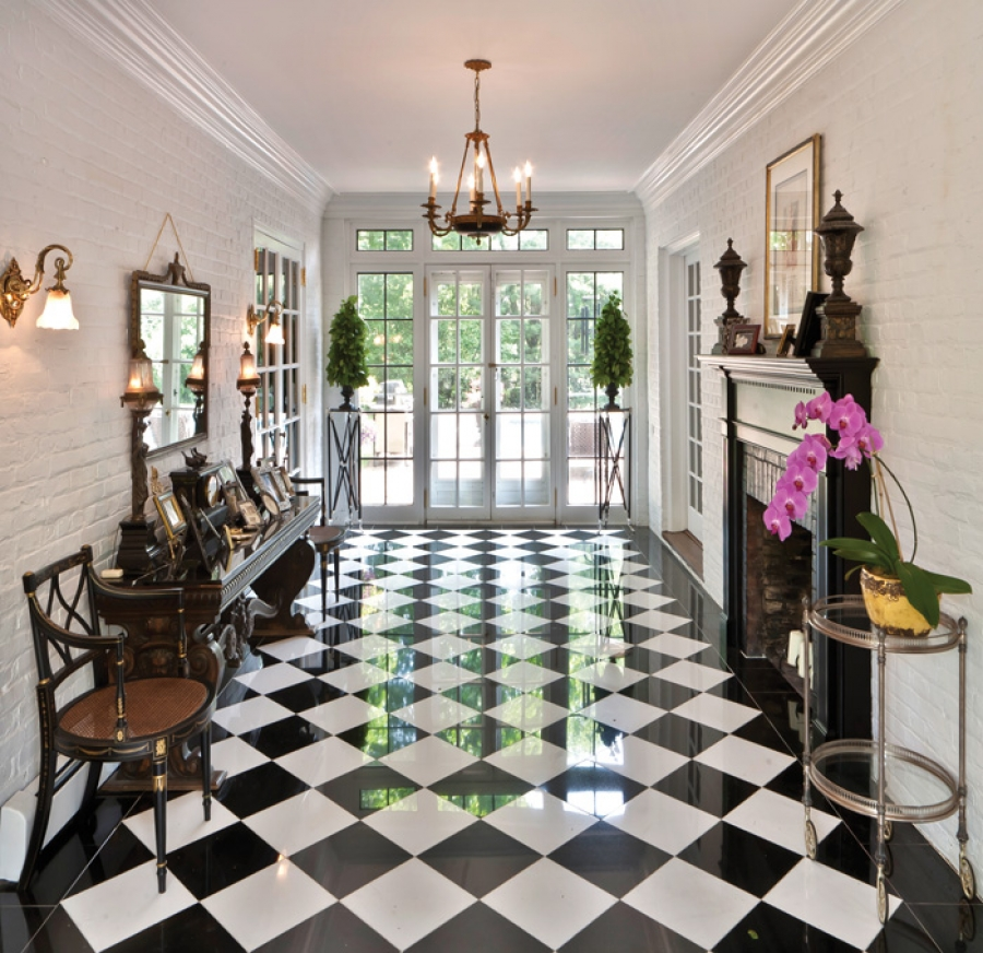 Interior White Floors: Three Famous Ceramic Tile Pattern In Black And White