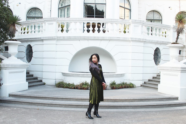 This is a photo about how to layer backless dress and sweater for winter in Shanghai White House from www.sidneyscarlett.com by Sidney Scarlett