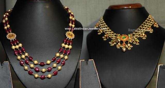 ruby pearl beads necklace