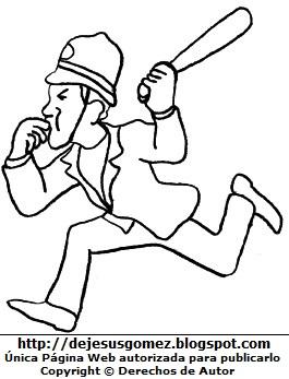 Hombre trabajando de policía para colorear (Hombre corrriendo con su silbato y pala). Dibujo de hombre de Jesus Gómez