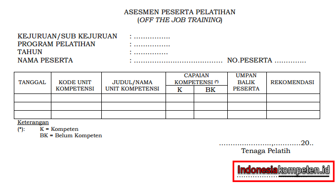 Contoh Formulir Asesmen Peserta Pelatihan (Off the Job Training)