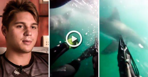 Joven con una GoPro graba cuando un tiburón blanco lo ataca