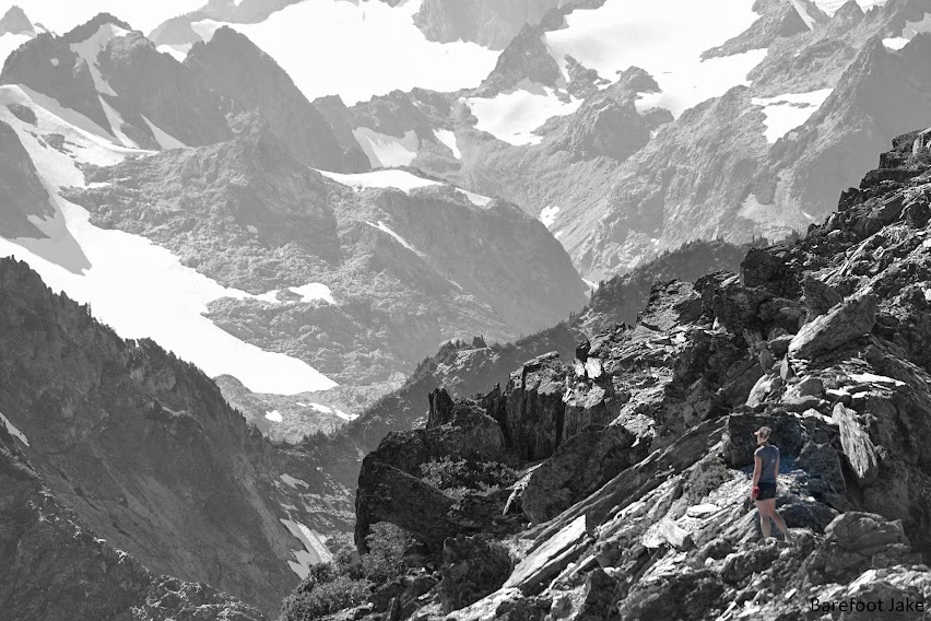 Hiker in Olympic mountains