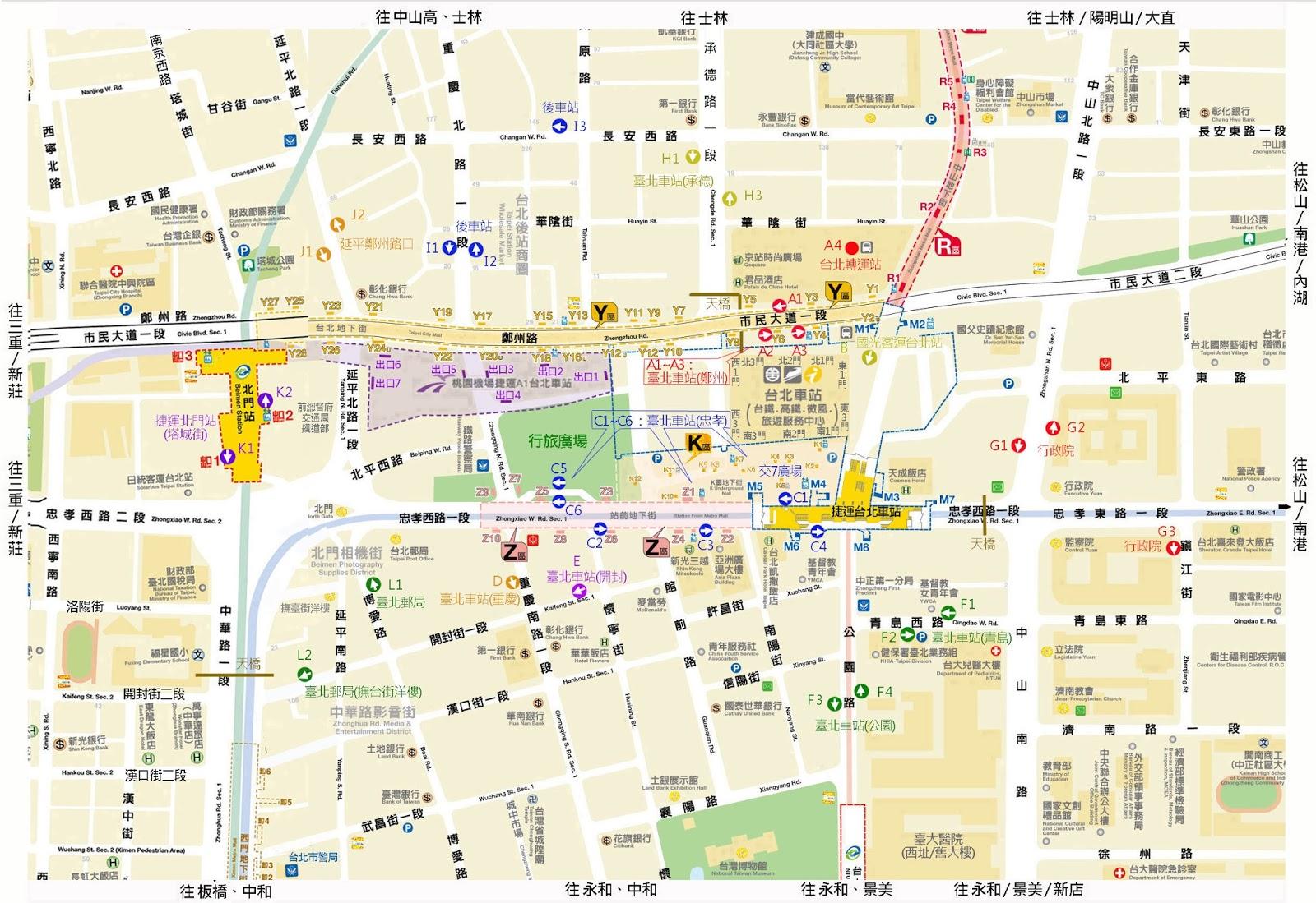 黃民彰的網站--Taiwan Taipei: 臺北車站週邊公車路線列表