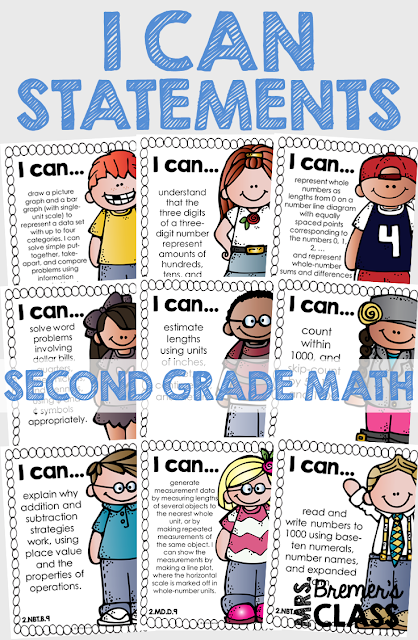 These Second Grade 'I Can' statement charts are perfect to display on an objective board or a focus board! The charts will provide your students with visual reminders about what skills to work on, and keep you, as the teacher, accountable and on track with the learning focus. This pack includes charts for all of the Second Grade Common Core Math Standards! #commoncore #icanstatements #2ndgrade #secondgrade #icancharts #bulletinboards #classcharts #backtoschool #2ndgrademath #secondgrademath