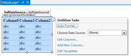 To bind the data to the GridView control via the wizard