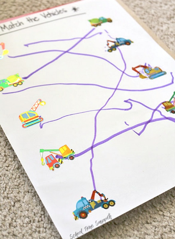 toddler sticker matching activity