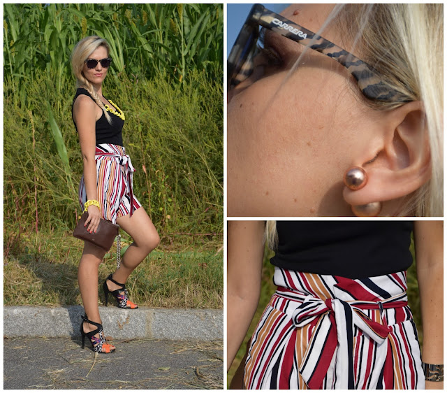shorts a righe a vita alta mariafelicia magno fashion blogger color block by felym fashion blog italiani fashion blogger italiane blog di moda blogger italiane web influencer italiane
