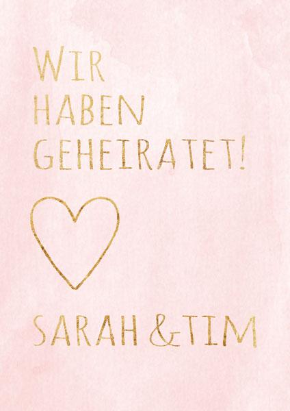 Karte rosa mit goldenem Text