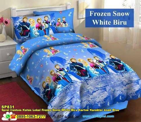 Sprei Custom Katun Lokal Frozen Snow White Biru Kartun Karakter Anak Blue