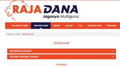 halaman web rajadana untuk mengetahui informasi mengenai kredit di radana finance