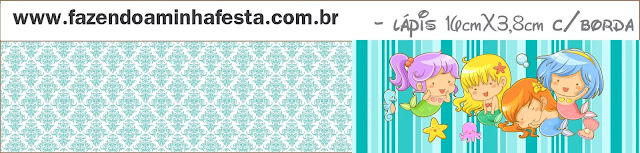 Baby Mermaid: Free Printable Candy Bar Labels.