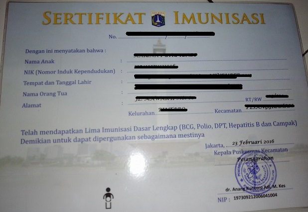 contoh sertifikat imunisasi