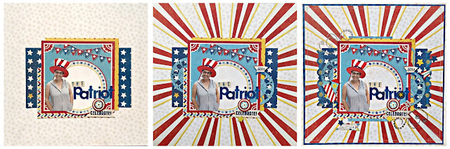 The Patriot scrapbook page Tracee Provis for Bo Bunny 1 layout 3 ways collage