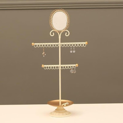 The Metal Jewelry Organizer Stand with Mirror is perfect for display minimalist hook earrings | NileCorp.com