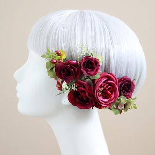 赤いバラの髪飾りピュアローズの髪飾り(赤)_ウェディングブーケ&ヘッドドレスairaka