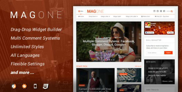 MagOne is flexible and responsive magazine template for Blogger / Blogspot sites. Find here all latest version of MagOne (v3.5.0, v3.1.0, v3.0.1, v2.0, v1.2.0) Blogger Templates.