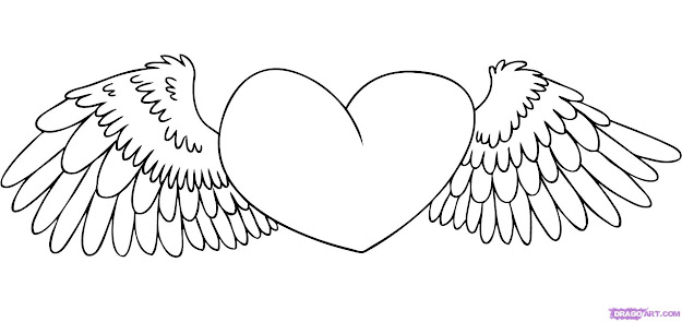 Free Love Heart Drawing Coloring Pages Heart With Wings Coloring Pages For  Incredible Hearts With Wings