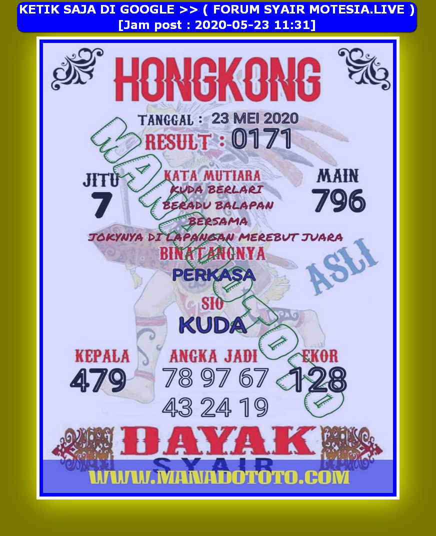 Kode syair Hongkong Sabtu 23 Mei 2020 59