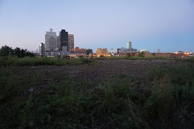 View across abandoned tip of Long Island City Skyline at dusk