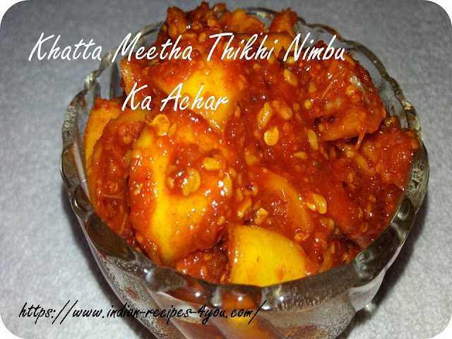 khatta meetha thikhi nimbu ka achar recipe  in hindi by aju P George
