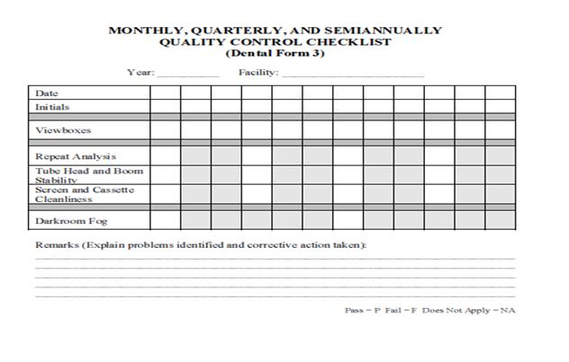 quality control check sheet template - dental radiography qa and qc