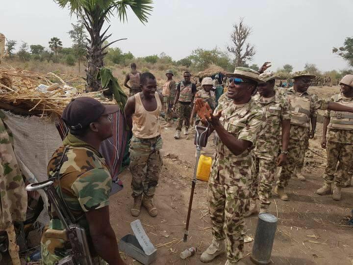 General Victor Ezugwu visits Nigerian Army soldiers fighting Boko Haram in Sambiasa