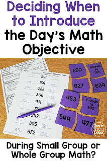 Do you know when it makes sense to introduce your math objective during small group time instead of whole group time? Learn more about how to make that determination, plus, get different lesson ideas for whole group math!