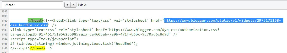 O código está no href do link após o fechamendo de </head>
