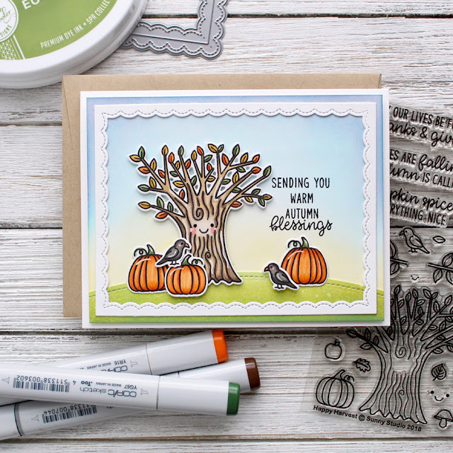 Sunny Studio Stamps: Happy Harvest Home Sweet Gnome Woodland Borders Fall Themed Cards by Leanne West