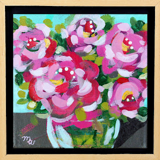 Flower painting by artist Merrill Weber framed original acrylic on canvas 6 x 6 Celebration 111 framed