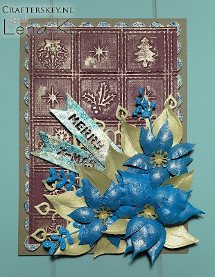 Christmas Card Joy! Crafts 6002/0386 Banners Marianne Design COL1393 Collectable Eline`s Poinsettia Marianne Design Cr1271 Craftables - Anja's Decoration Crafter's Companion Ef6-Patch Embossalicious Embossing Folder Christmas Patchwork