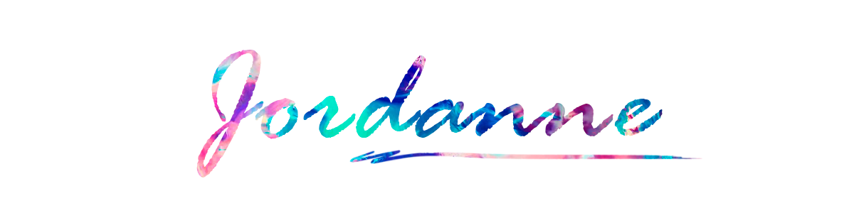 plain white background image that has Jordanne written on it with rainbow colours. this is a sign off image