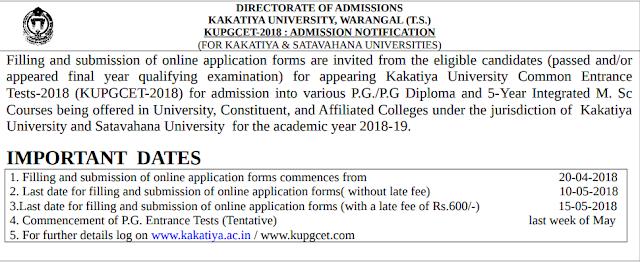 KU PGCET 2018 Notification, Exam dates, Application form