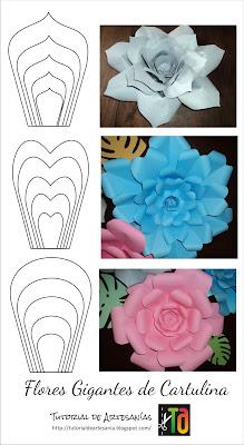 Ejemplo de moldes gratis flores gigantes de Tutorial de Artesanías