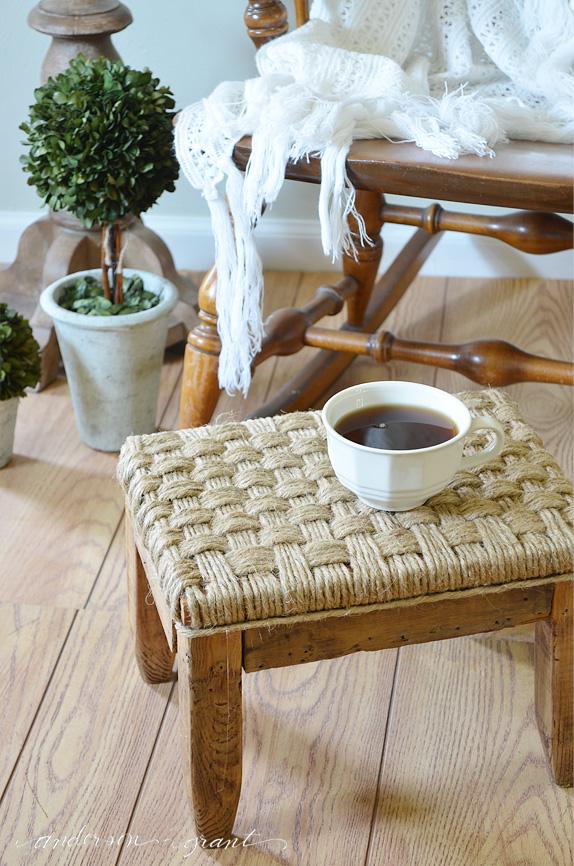 DIY woven jute footstool adds texture