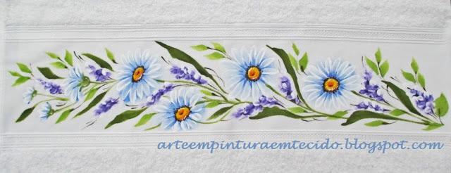 toalha margaridas pintura em tecido