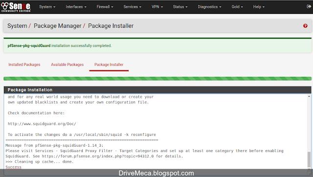 DriveMeca instalando y configurando SquidGuard en pfSense paso a paso